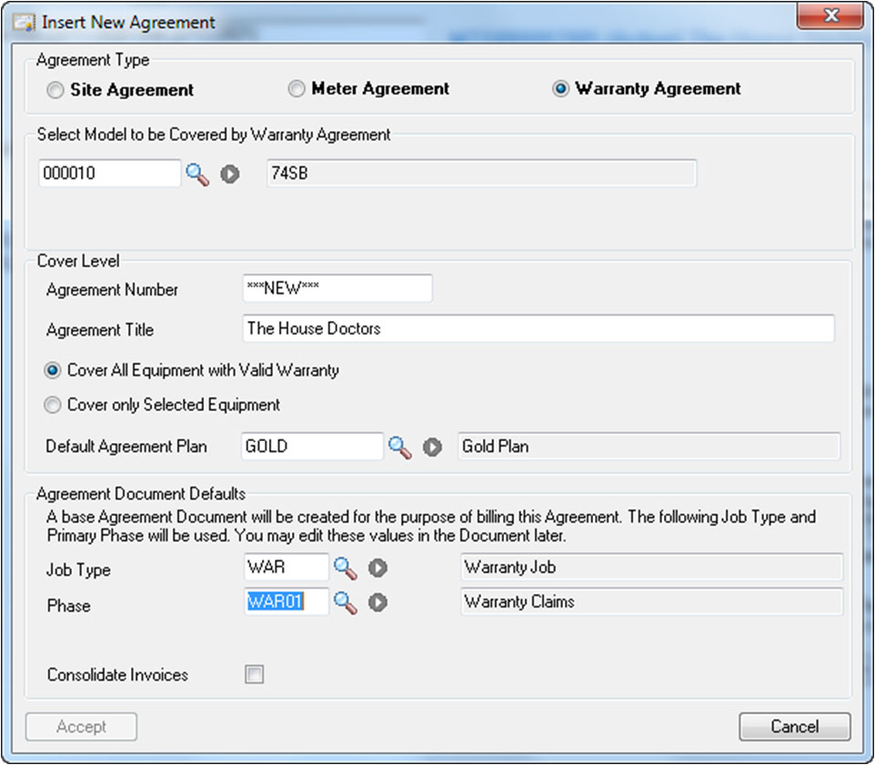 Warranty Agreements Service Order Manager